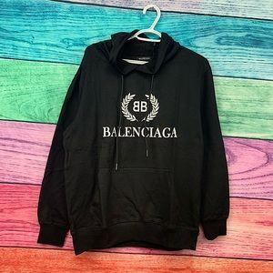 BALENCIAGA unisex black hoodie with white logo NWT !